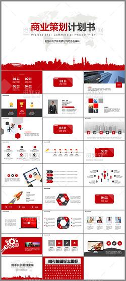 时尚红色创新科技项目计划书ppt模板