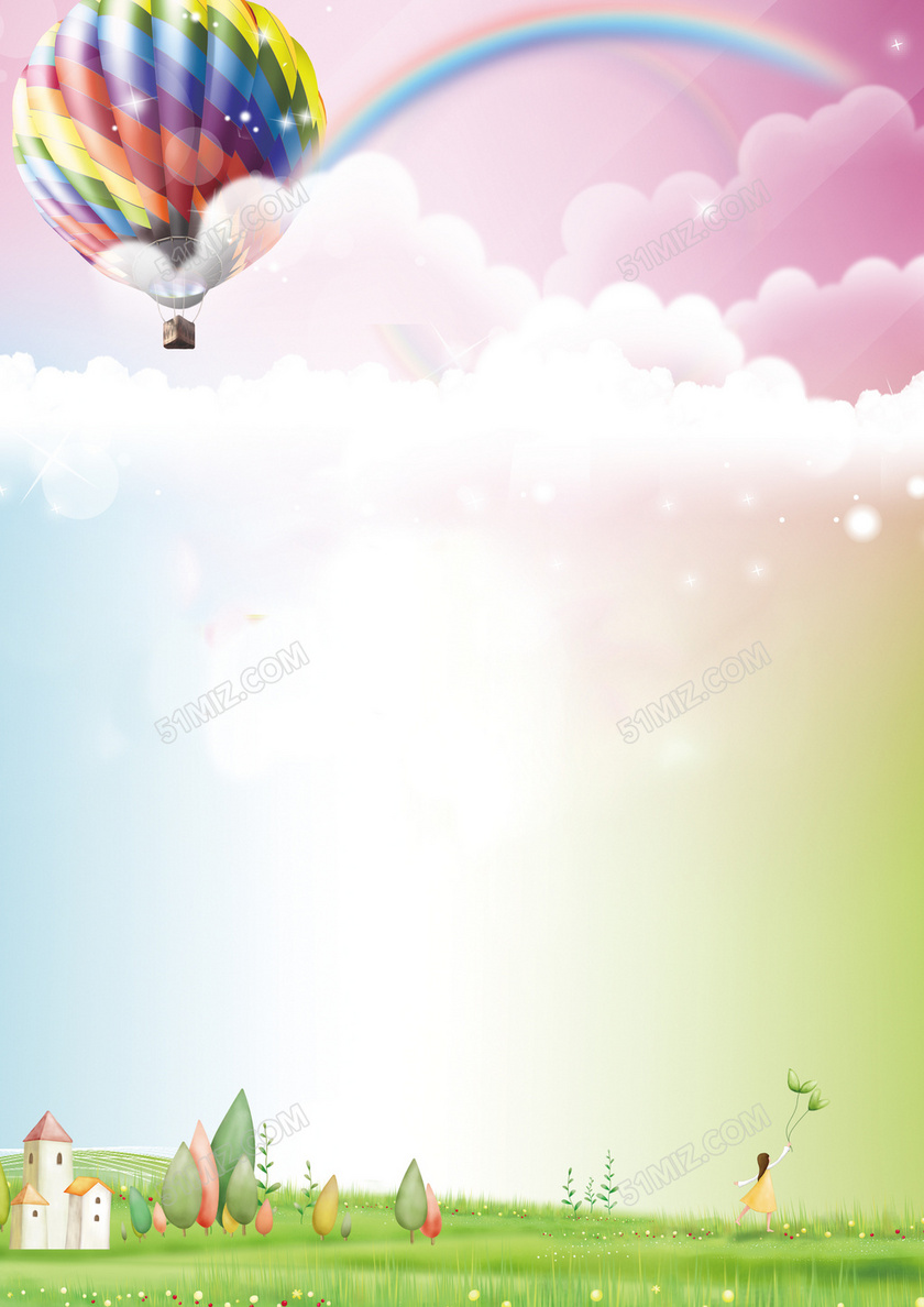 卡通彩虹热气球信纸背景