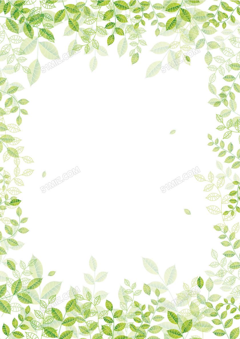 绿色树叶清新word背景素材-信纸背景模板-觅知网