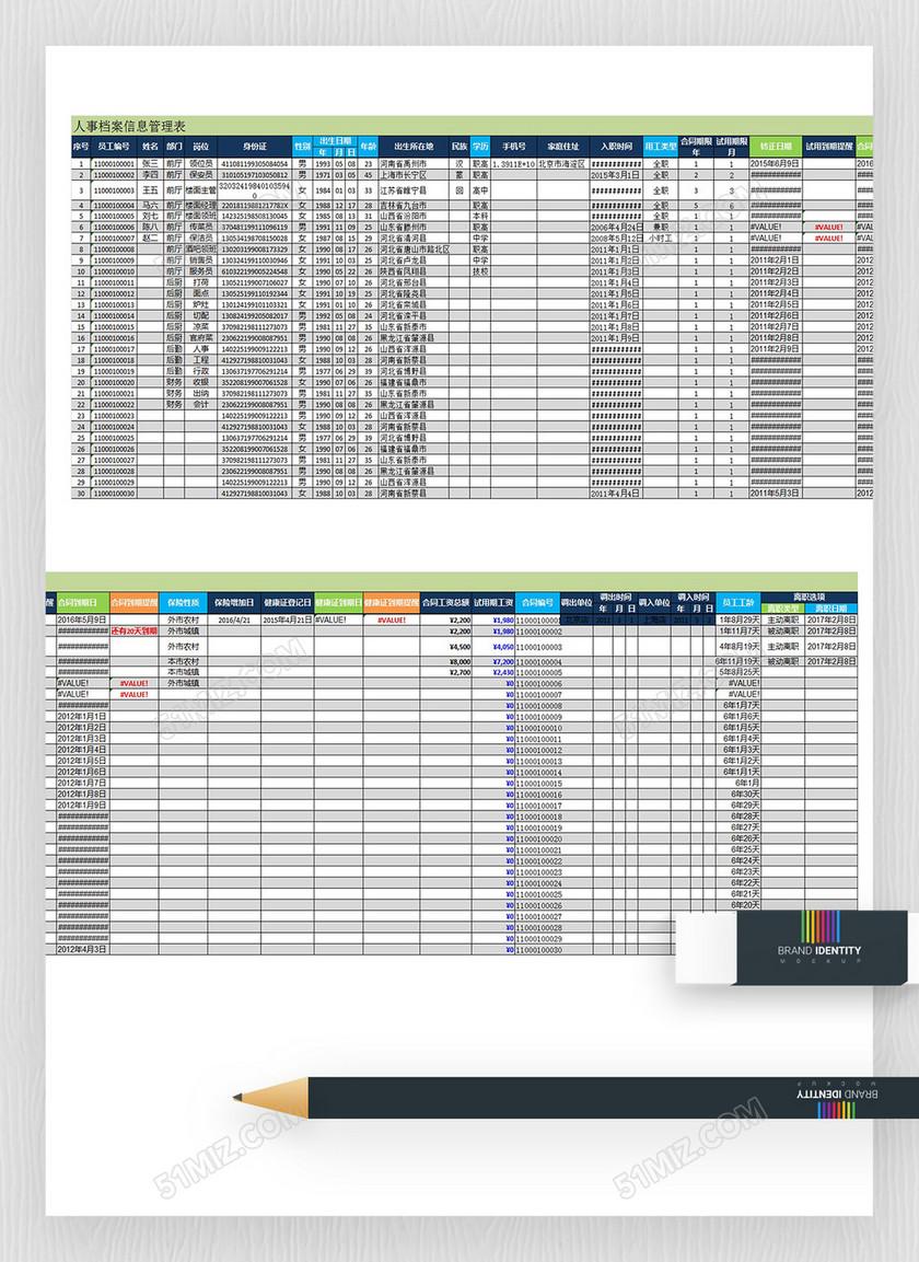 企业人事档案信息管理表