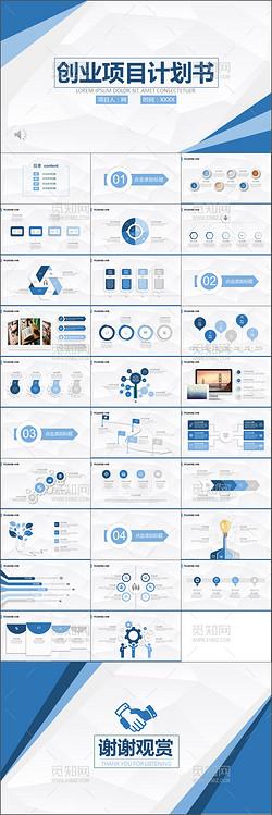 商业计划书营销策划书ppt模板创业项目融资创业