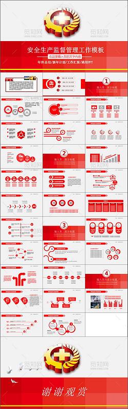 红色安全生产监督管理工作总结汇报PPT模板