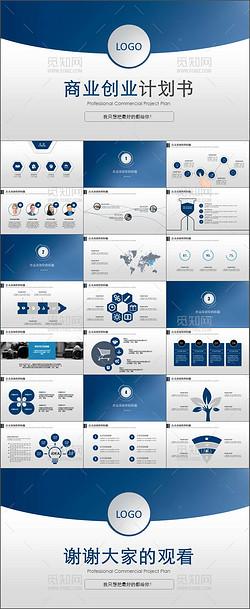 蓝色大气创业融资招商商业计划书PPT模板