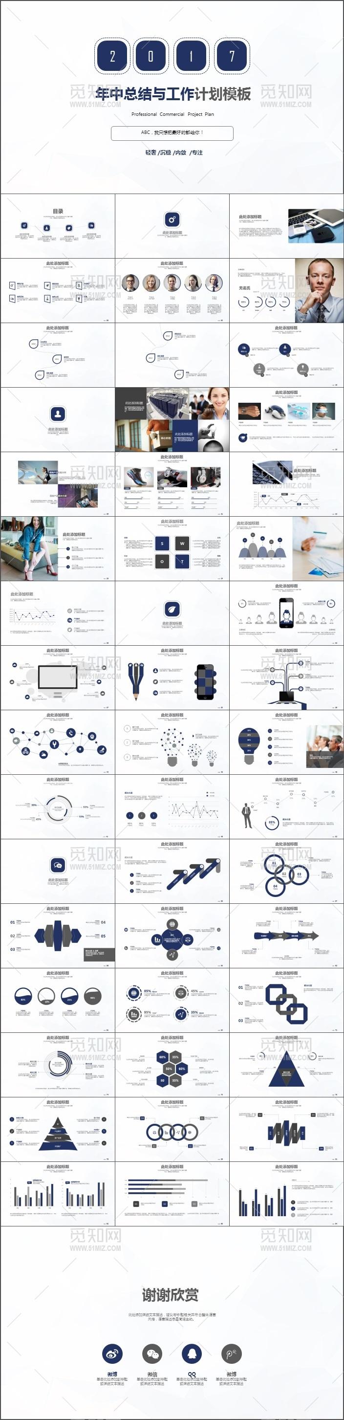 2017深蓝年中总结工作计划商务PPT模板