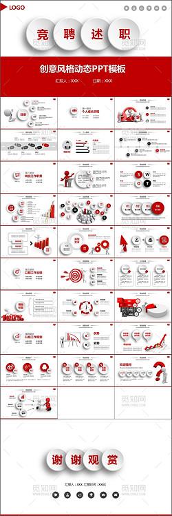 红色创意风格竞聘述职报告PPT模板
