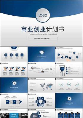 藍色大氣創業融資招商商業計劃書PPT模板