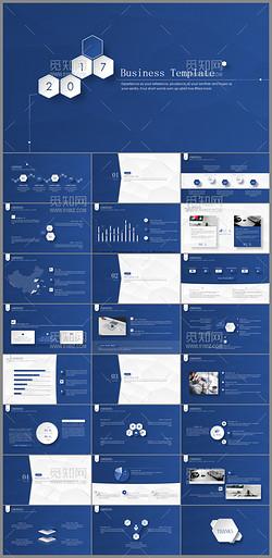 深蓝低多边微立体公司简介企业宣传PPT模板