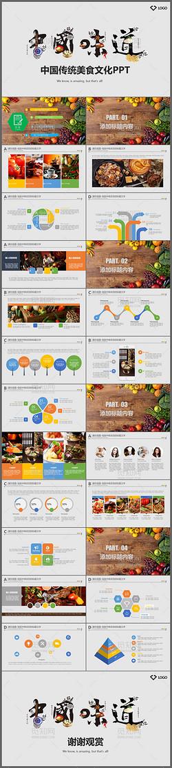 适合餐饮行业企业宣传推广的中国传统美食文化动态ppt模板