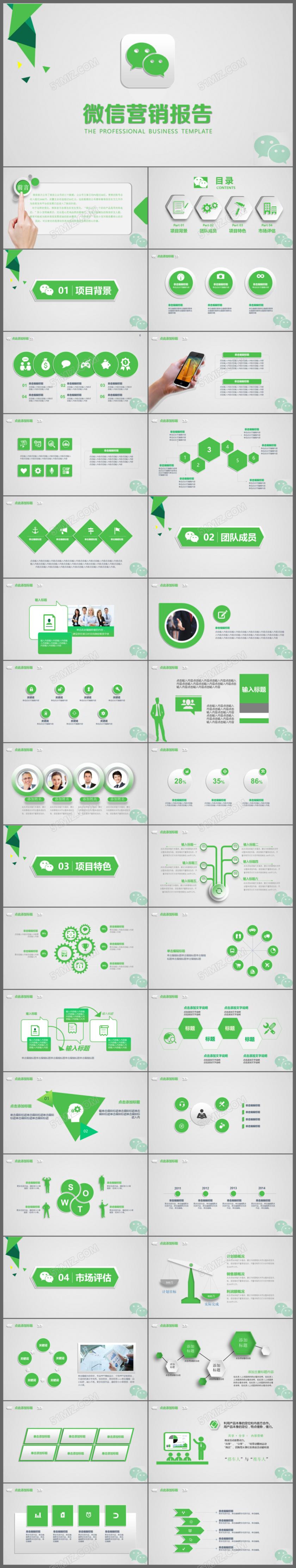 微信营销极简设计互联网营销终总结报告ppt模板