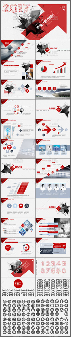 2017红色创意实用商业计划书ppt模板