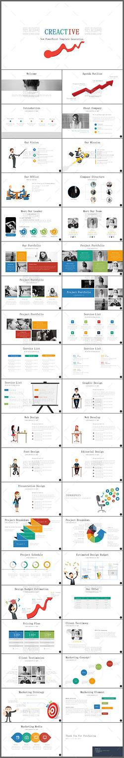 白色简约欧美营销策划公司简介产品介绍ppt模板