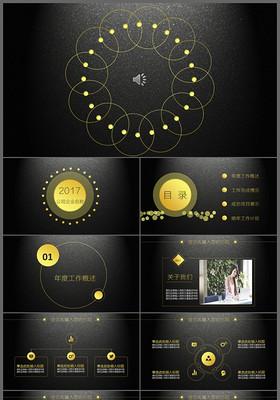 黑色炫酷簡約商務科技時尚工作匯報動態ppt模板