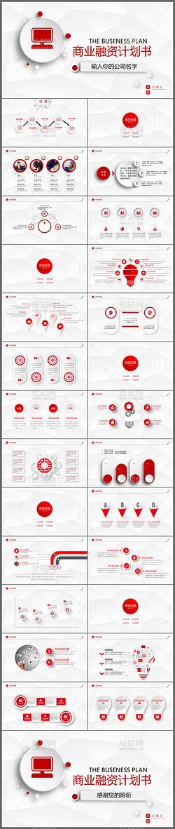 红色大气商业融资创业计划书PPT模板