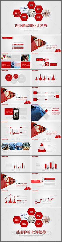 2017新年计划红色通用创业融资商业计划书PPT模板