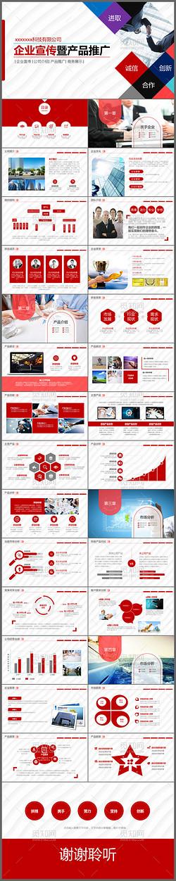 完整框架红色公司介绍简介企业宣传产品推广PPT模板