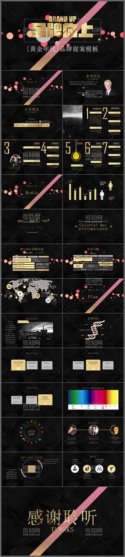 立体粒子创意金色时尚广告公司品牌提案动态ppt模板