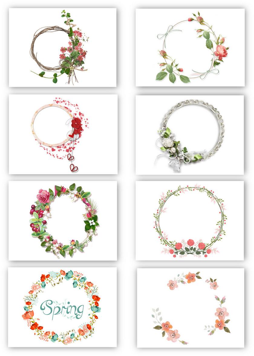 8个花纹花环花朵png素材
