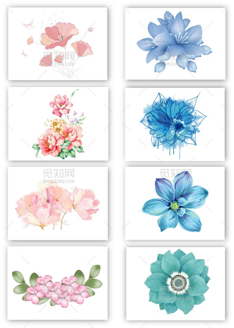 8个手绘花纹花朵png素材