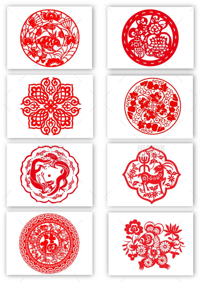 中式复古剪纸花纹png的素材