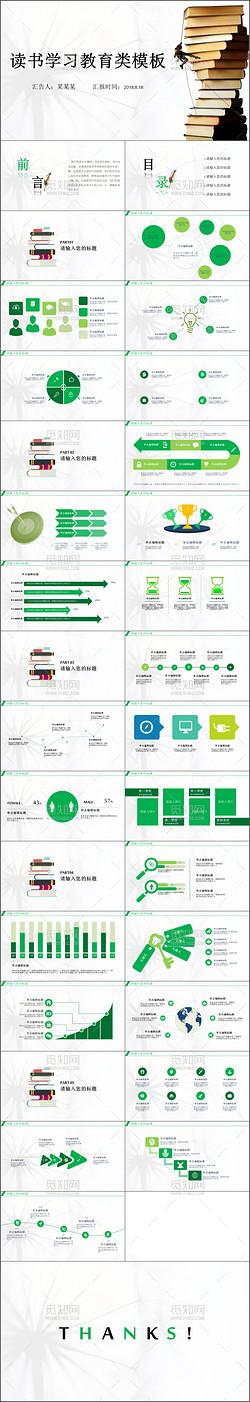 简约清新绿色读书报告PPT模板