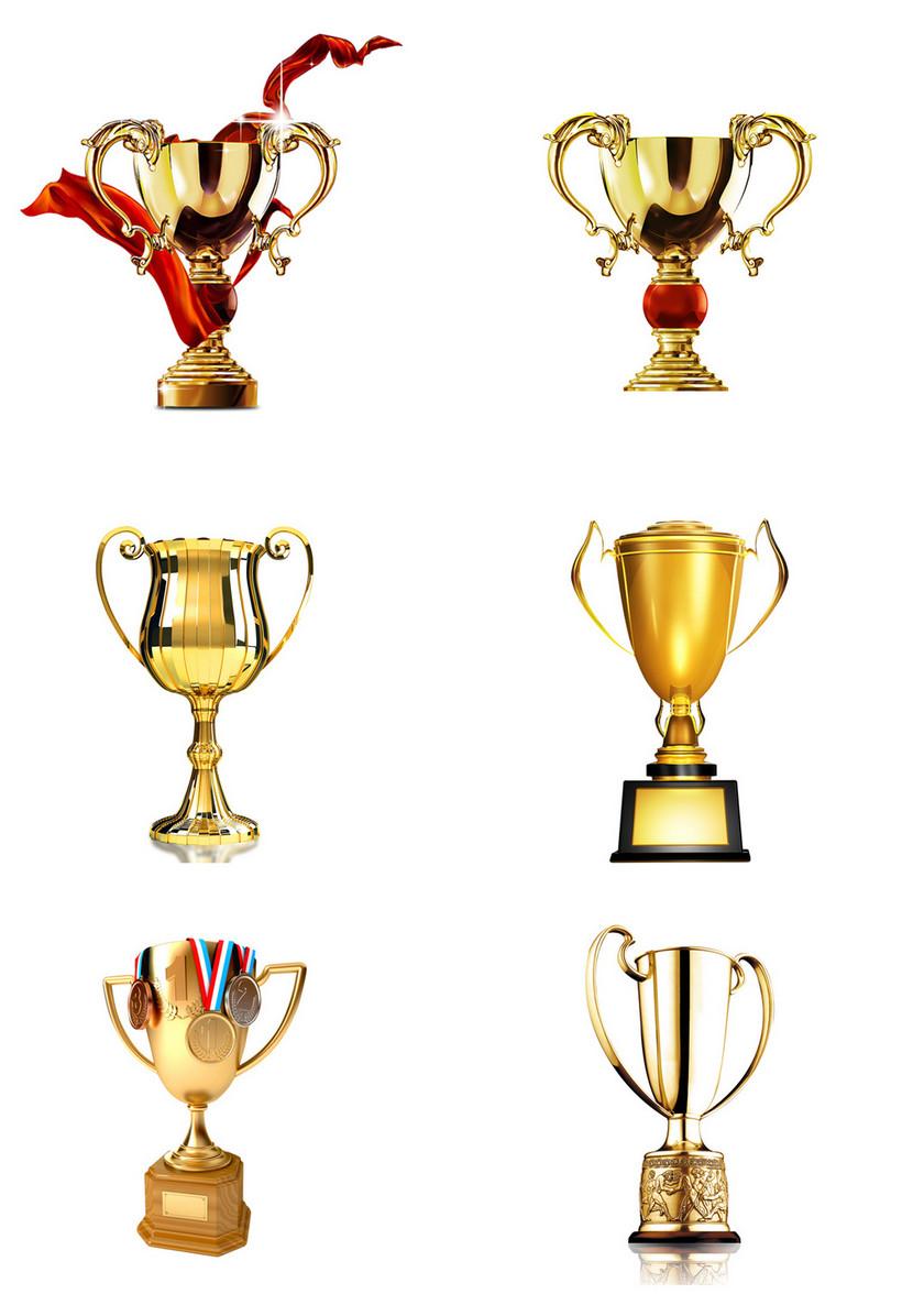 6个金色奖杯素材
