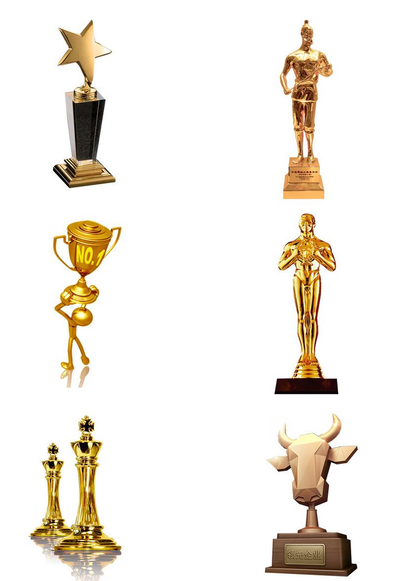 6个金色立体奖杯素材