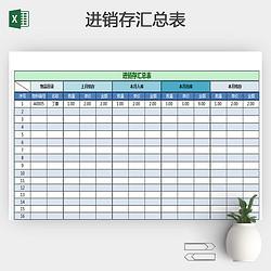 2017年仓储进销存绿色清新汇总表模板