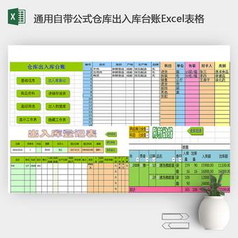 通用自帶公式倉庫出入庫臺賬Excel表格