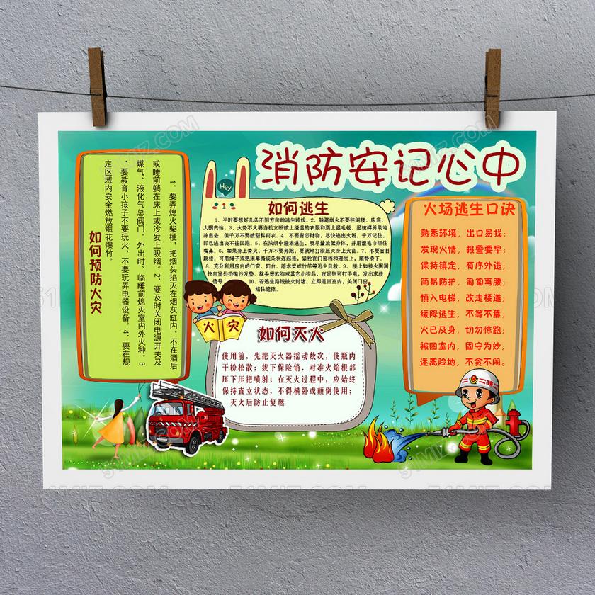 幼儿园儿童消防安全安全知识小报手抄报模板