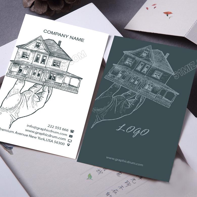 创意手绘装饰公司名片设计