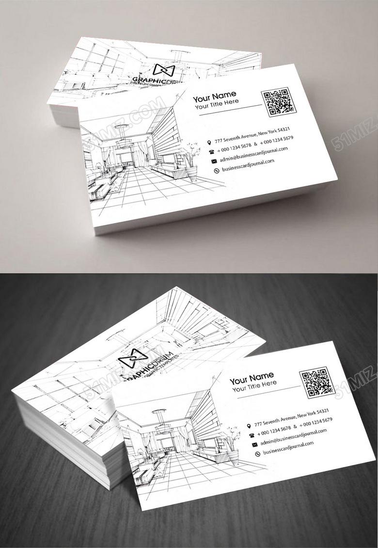 白色创意建筑装饰公司名片模板设计图片