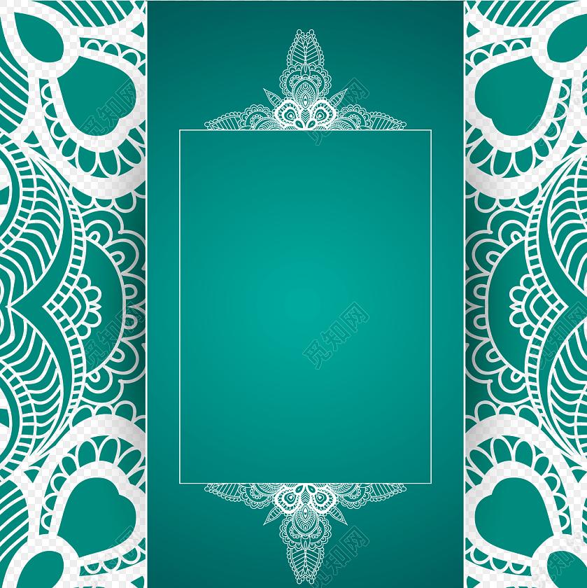 古风花纹绿色背景装饰素材