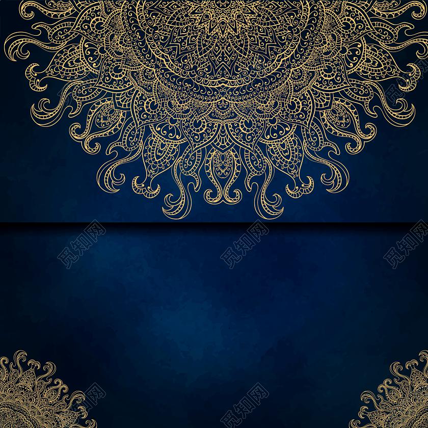 金色古风花纹蓝底装饰素材