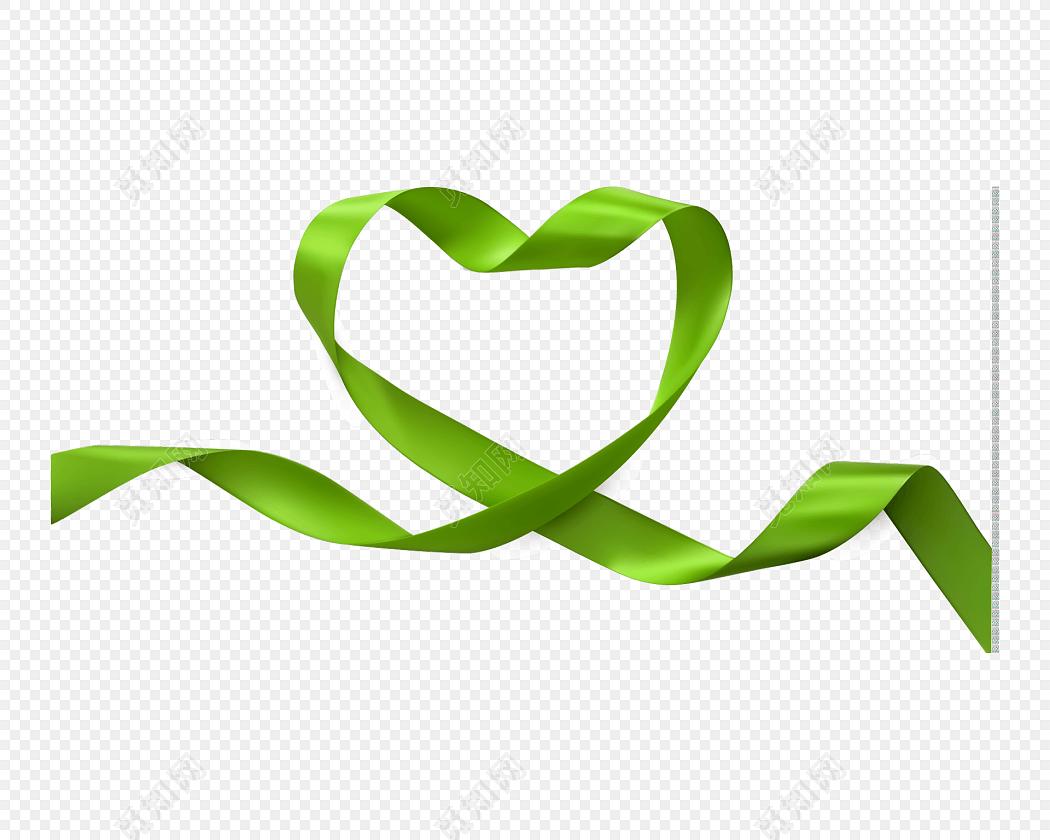 矢量绿色心形飘带素材
