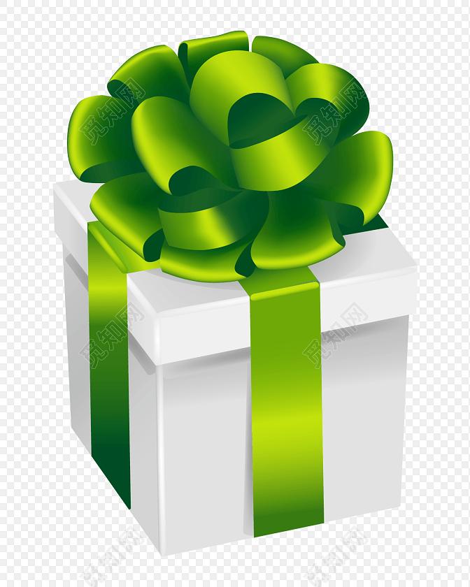 绿色拉花方形礼盒矢量图