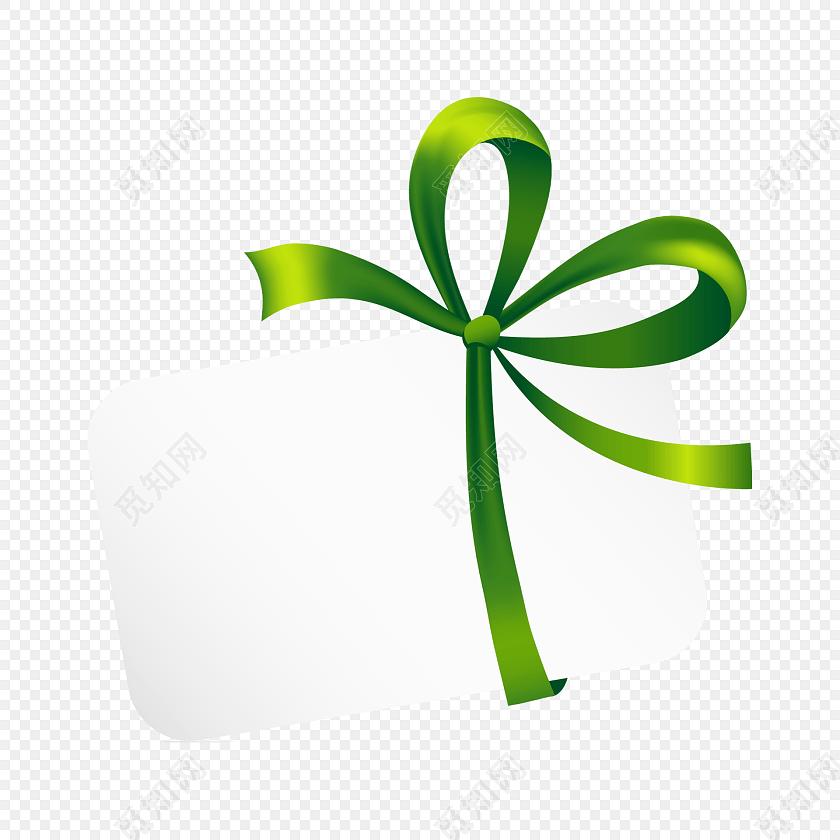 绿色蝴蝶结装饰标签矢量图