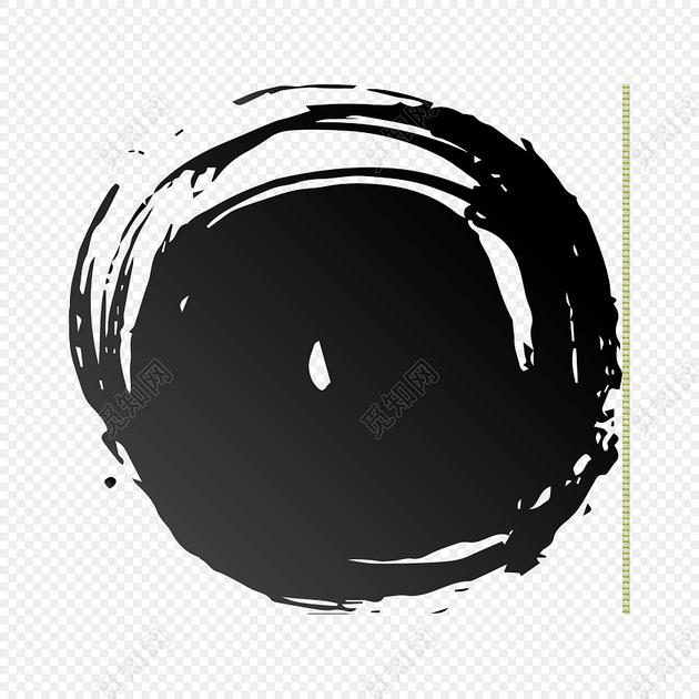 圆形古风水墨笔触素材