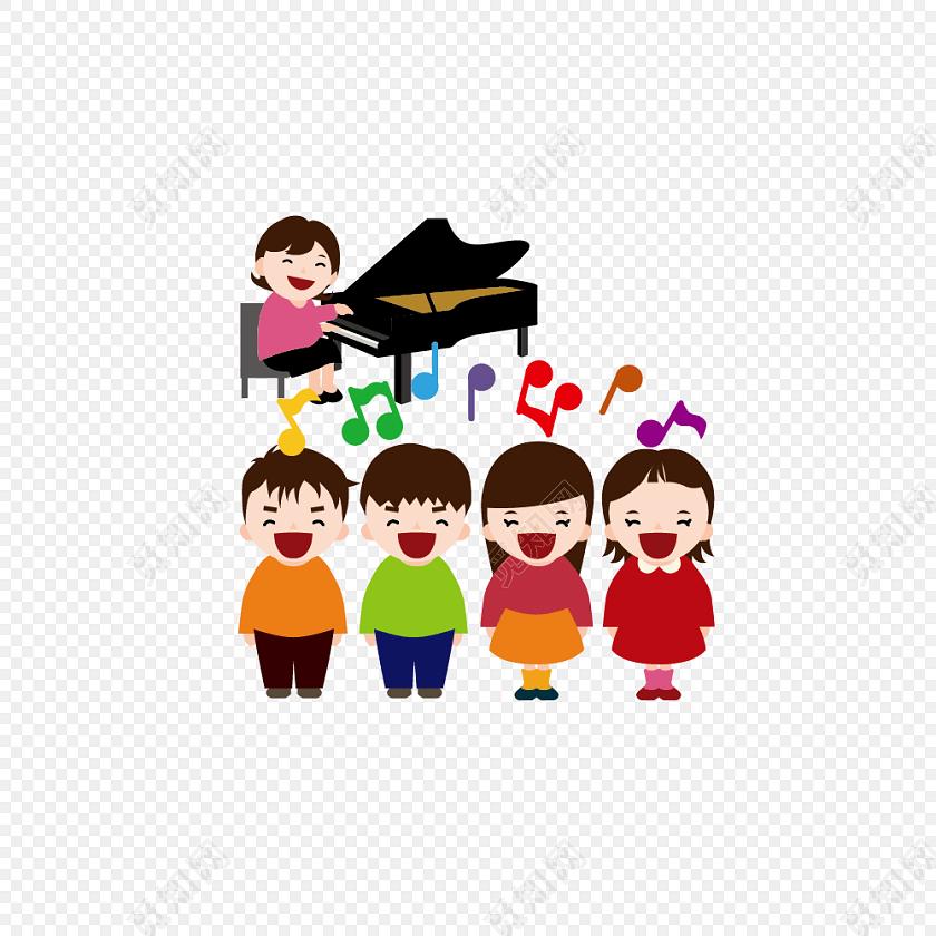 卡通儿童音乐课插画素材图片