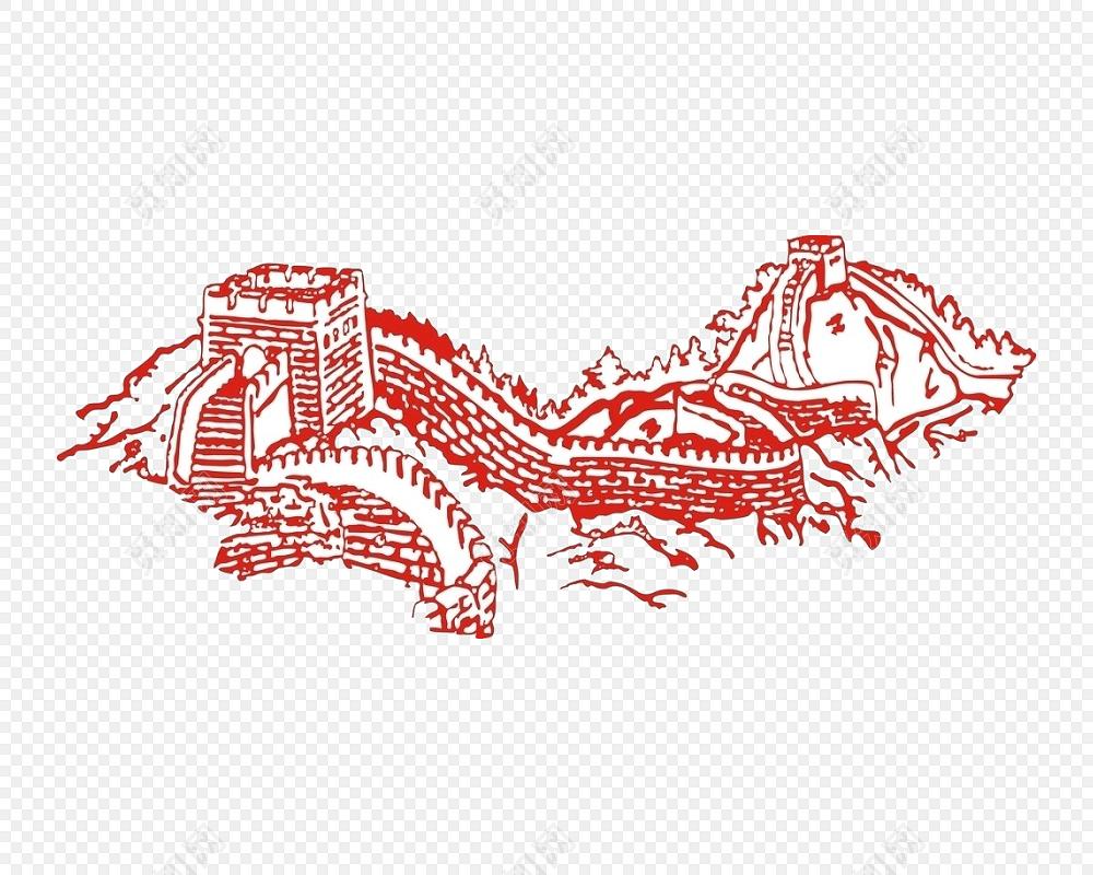 长城线条矢量图