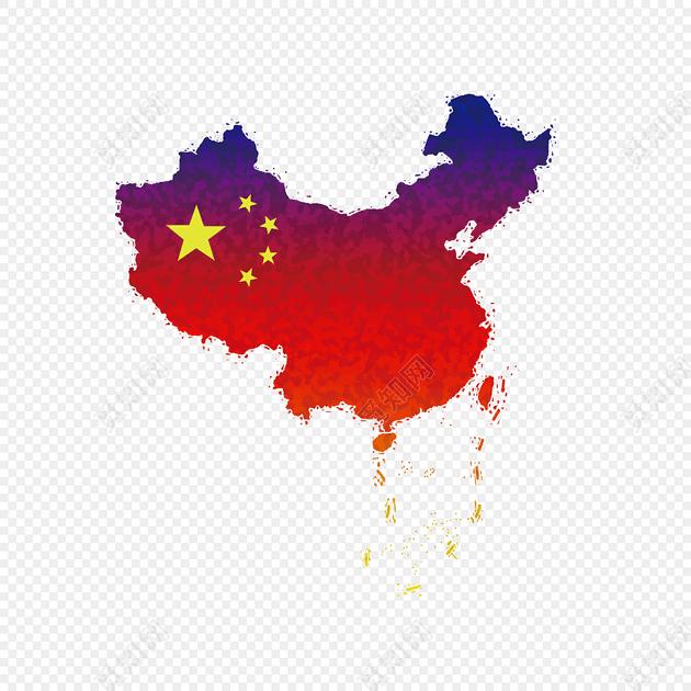 彩色中国红地图素材