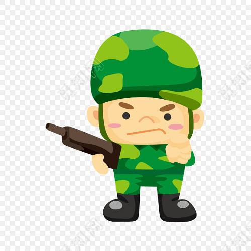 卡通军人军训士兵素材免费下载_png素材_觅知网