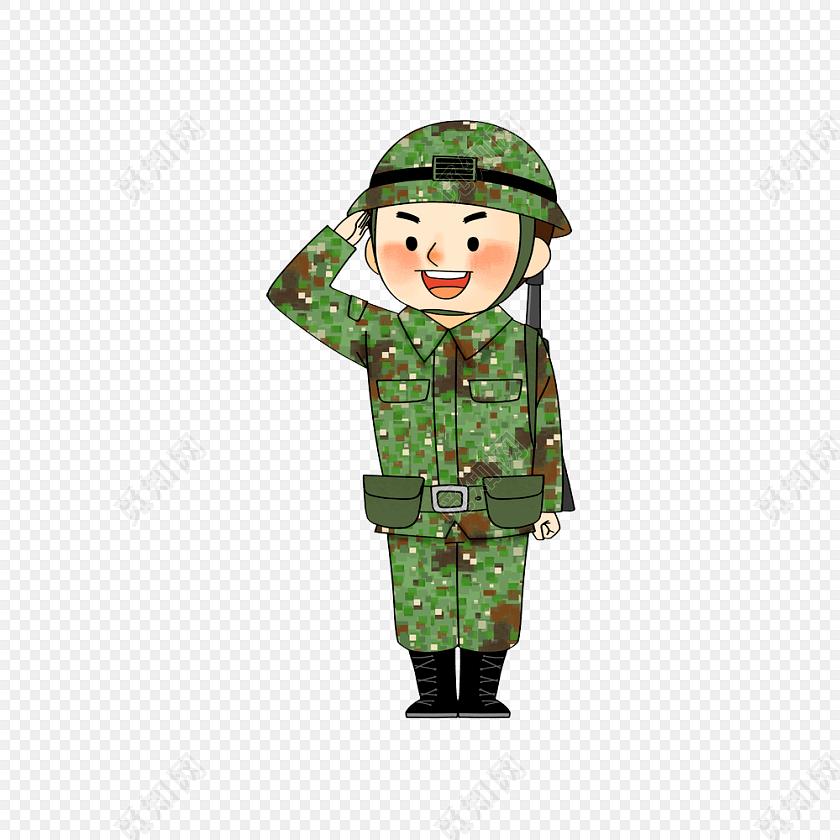 卡通军人军训士兵敬礼素材