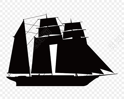 黑色帆船剪影矢量图