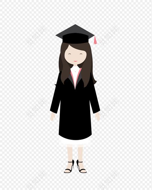 卡通毕业季人物学士帽素材图片