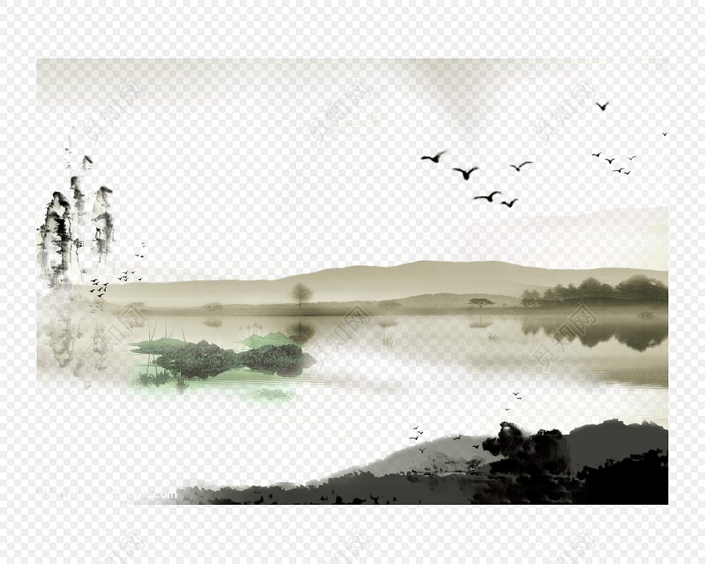 矢量古风水墨江南小楼风景背景元素