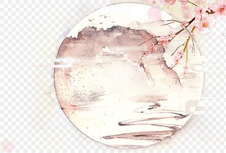 中國風水墨墨跡古風水彩花卉繪素雅梅花國畫素材
