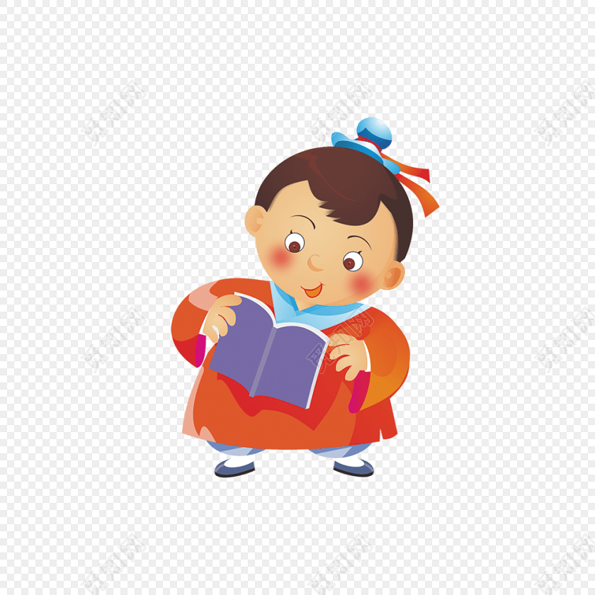 古代儿童读书简笔画