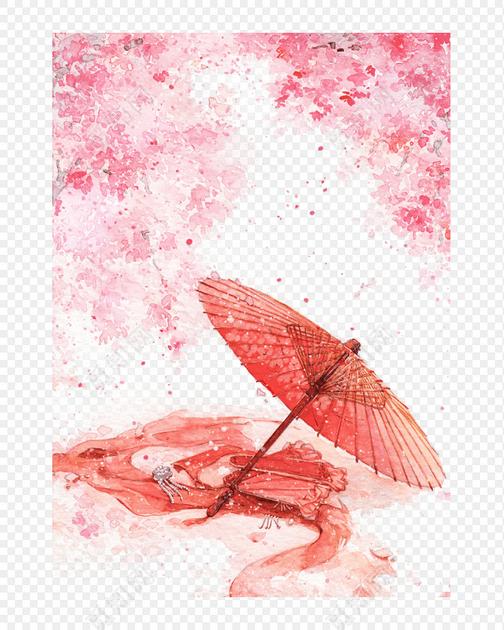 免费下载png png素材中国风水彩风格纸伞花瓣油纸伞素材元素标签:古风