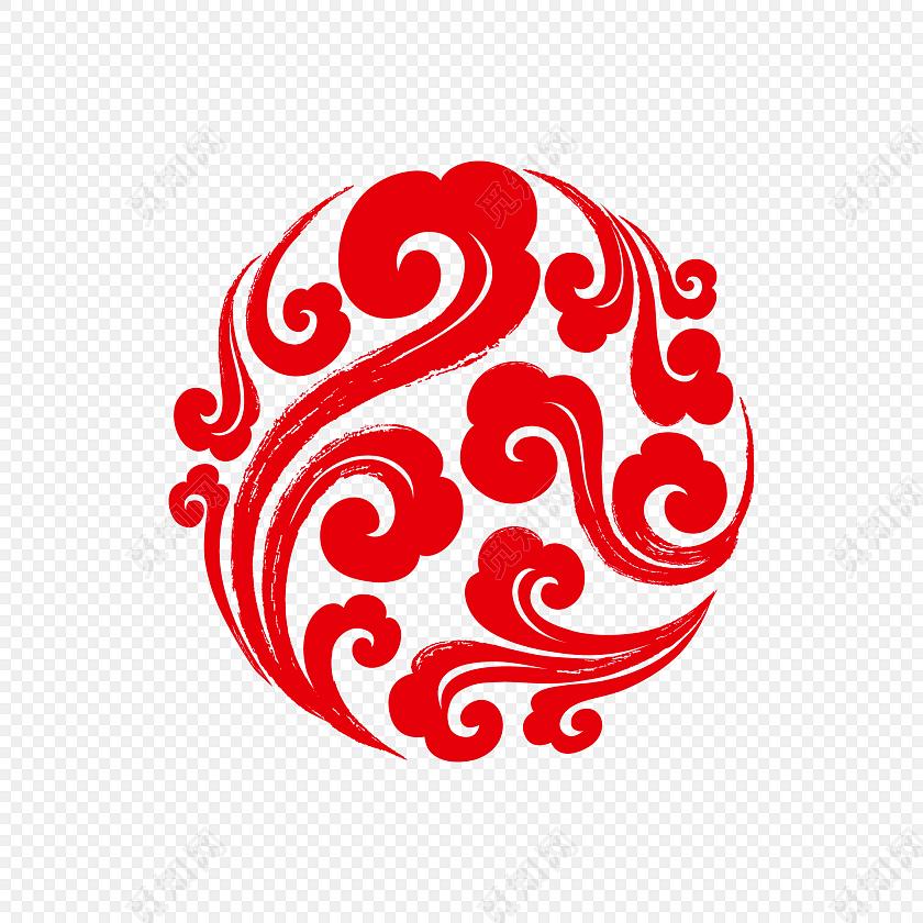 中国传统祥云图案剪纸素材免费下载_png素材_觅知网