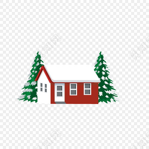 简约圣诞树和房子矢量素材